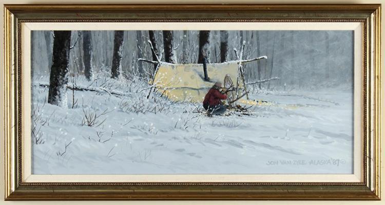 JON VAN ZYLE (1942-, AL) - REFEULING - Oil on board scene of a man preparing a campsite for the night, in a snowy landscape