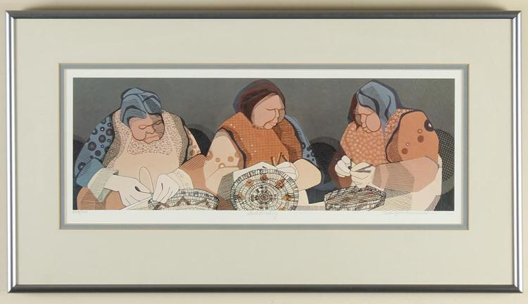 SUSAN PENNEWELL ELLIS (20th Century) - BASKETMAKING - Lithograph image of Native women hand weaving baskets