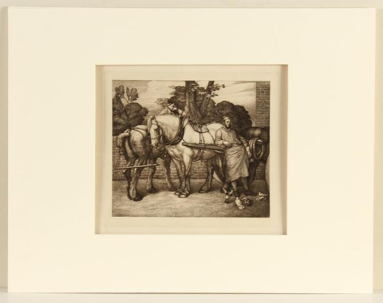 GEORGE WOLLISCROFT RHEAD (1855-1920, UK) - HORSES AND GROOM - Etching on paper of a man reclining against horse drawn cart