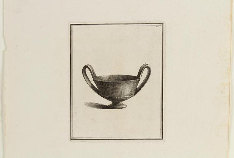 UNSIGNED - LARGE BOWL - Engraving on paper of a large metal bowl with long handles in a bordered margin