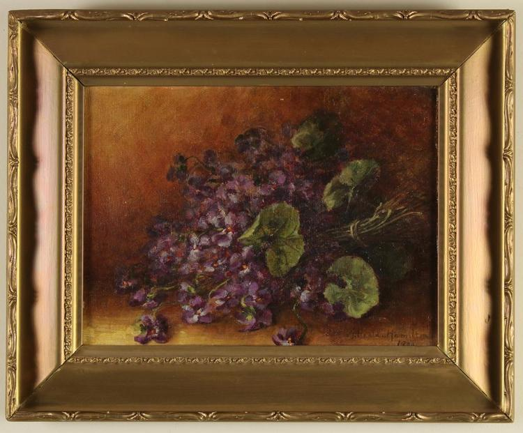 ANNETTE HEALD-HAMILTON - STILL LIFE: VIOLETS - Oil on canvas still life piece showing a loose bunch of violets with leaves intact