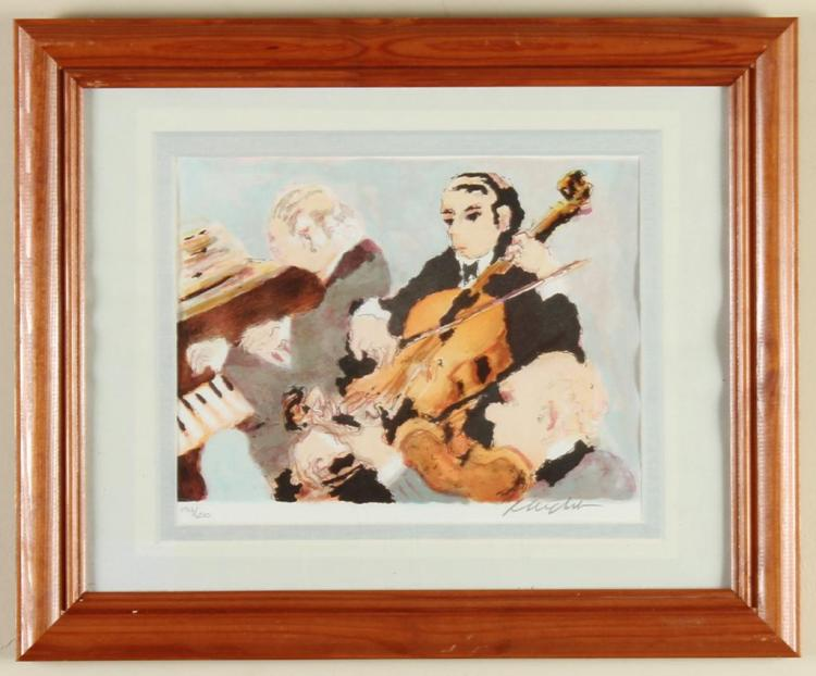 URBAIN EMMANUEL HUCHET (1930-, France) - EVENING AT THE SYMPHONY - Lithograph on wove paper showing symphony members playing instrum...
