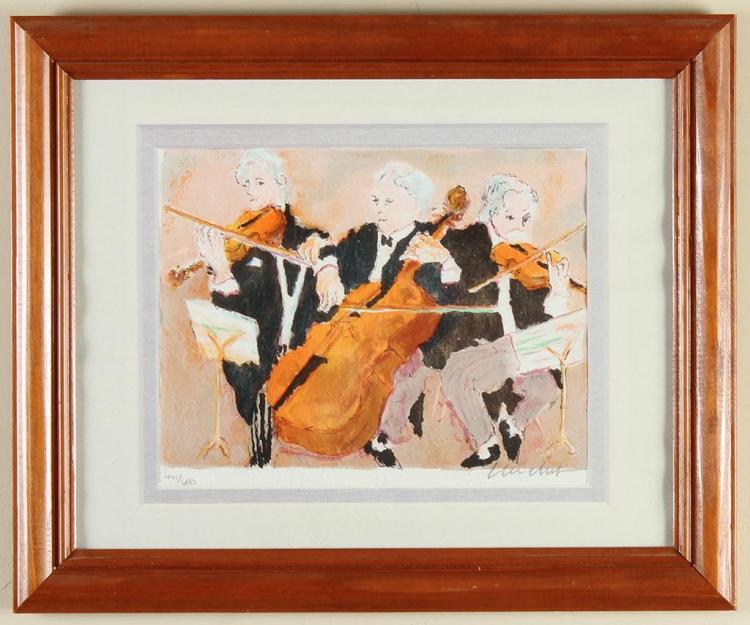 URBAIN EMMANUEL HUCHET (1930-, France) - ORCHESTRA TRIO - Lithograph on wove paper showing orchestra members playing instruments