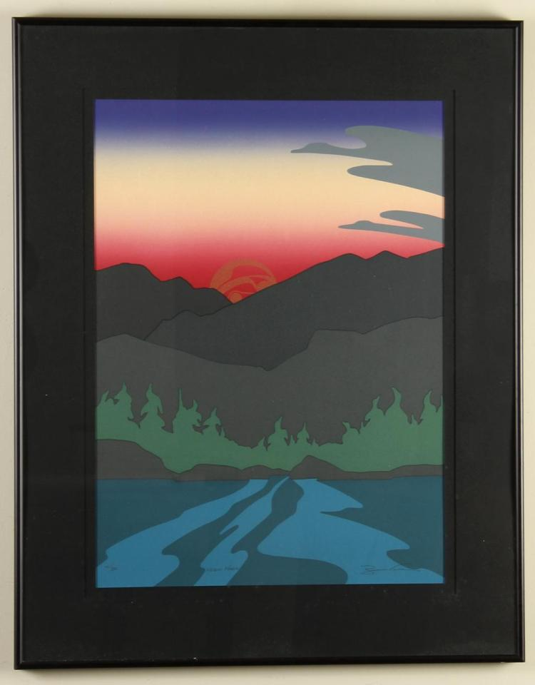 ROY HENRY VICKERS (1946-, BC) - MEGIN MAGIC - Lithograph image of sunset hues over Lake Megin, British Columbia with the setting sun...