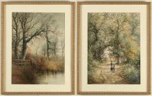 STEPHEN J BOWERS (active 1874-1891, UK) - ENCOUNTERS IN NATURE - Two watercolor pieces showing figures meeting along paths through n...