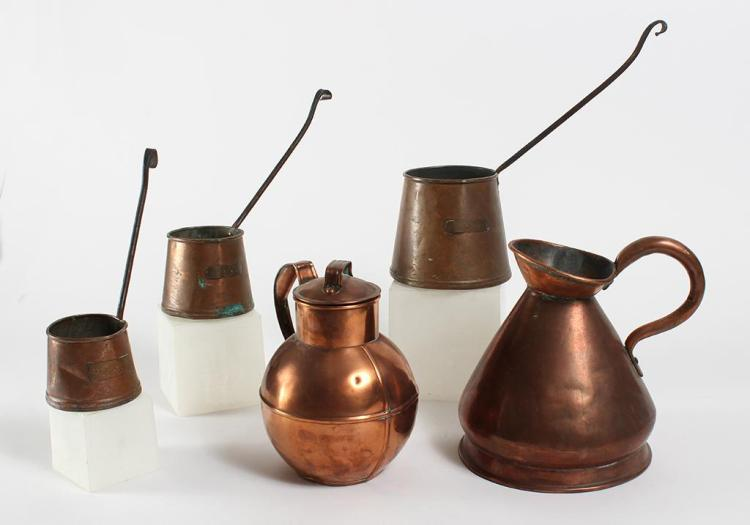 FIVE ANTIQUE COPPER ITEMS - Includes a set of graduated beakers with long iron handles marked