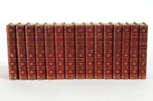 THE PLAYS AND POEMS OF WILLIAM SHAKESPEARE 15 VOLUME SET 1867 - Red Moroccan half calf leather and marbled paper sides all uniformly...