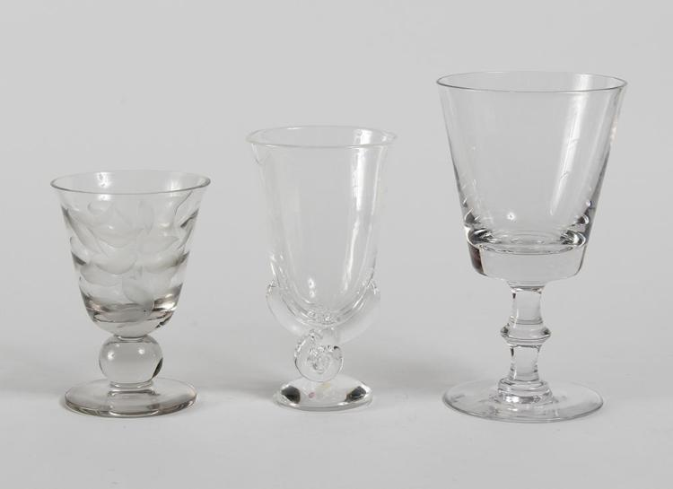 THREE CLEAR GLASS CHALICE VASES - Likely mid-20th century