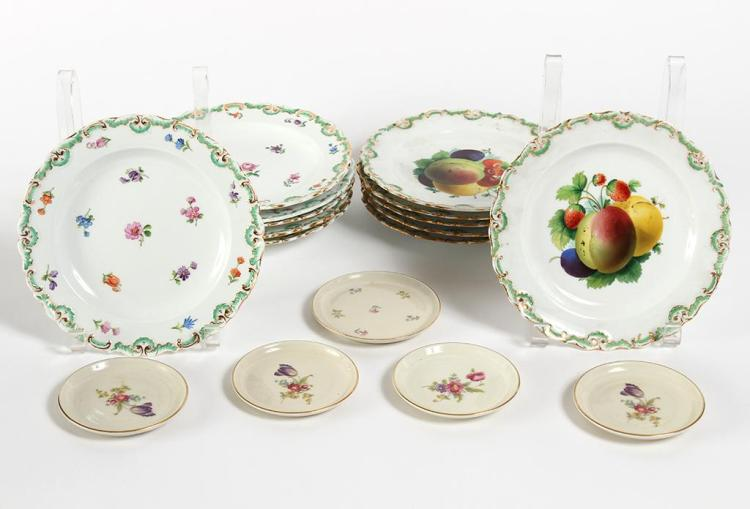 TWELVE ASSORTED MEISSEN PLATES - Includes 6 plates each decorated with different fruit motifs and a second set of 6