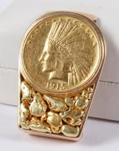 MONEY CLIP: GOLD NUGGET & 1915 USA GOLD PIECE - A beautiful 1915 American $10 Indian Head gold coin is bezel set in this 10K yellow...