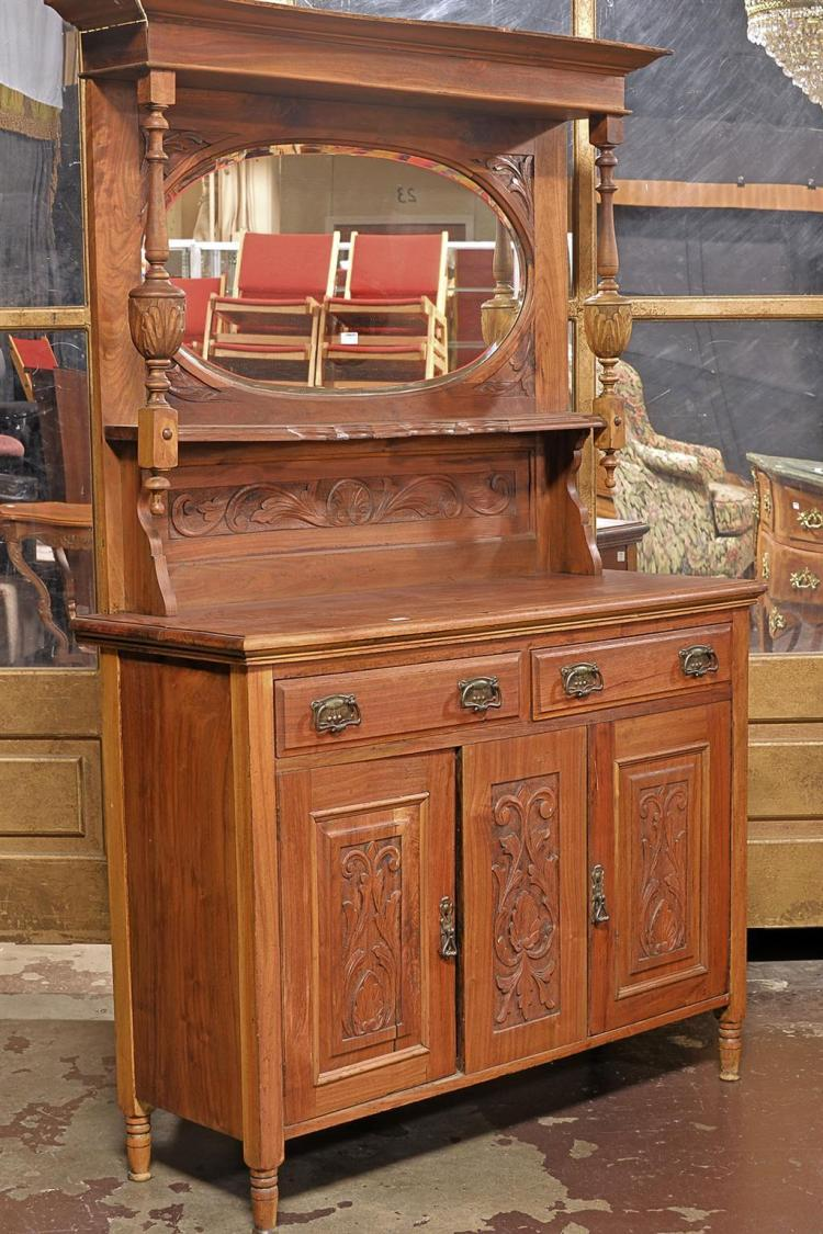 SIDEBOARD CABINET - Antique Northern European fruitwood with cyma reversa crown molding atop tall mirrored back with candle shelves...