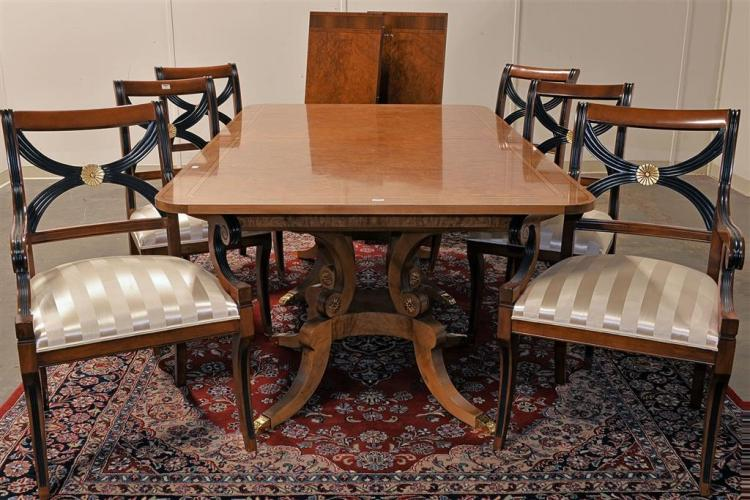 CORRECTION: TABLE AND SIX CHAIRS - Vintage Regency style double pedestal extension dining table with walnut, ebony and satinwood ven...