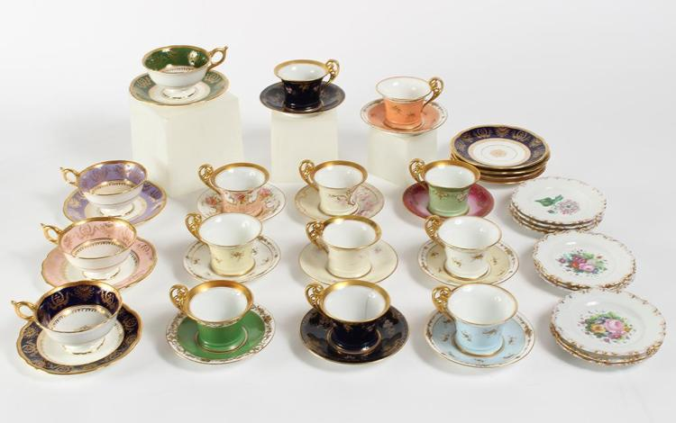 GROUP OF ELEGANT COFFEE CUPS, SAUCERS AND SMALL DESSERT PLATES - Includes 4 Coalport England coffee cups in assorted colors and 8 co...