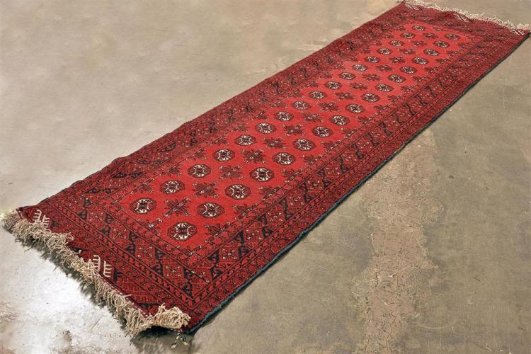 CARPET: HANDWOVEN AFGHANI BELOUCH RUNNER - All wool traditional style with two rows of