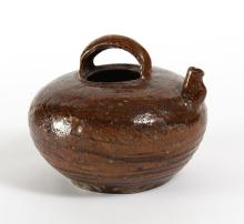 KOREAN WATER KETTLE RELIC - 16th Century - Ceramic brown water vessel from the Korean peninsula