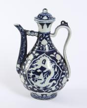 MING STYLE BLUE & WHITE EWER - Glazed ceramic pouring vessel with lid
