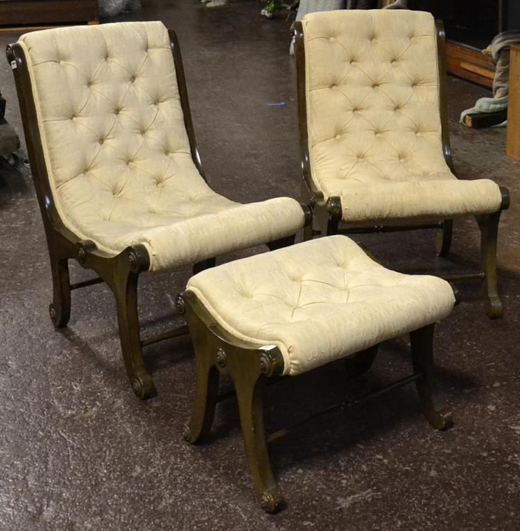 PAIR OF OBI CHAIRS AND ONE OTTOMAN   Antique Japanese