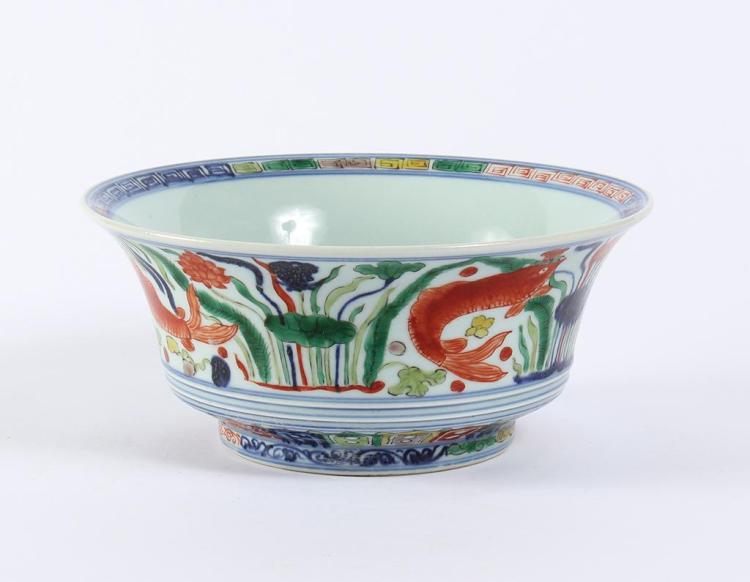Chinese wucai bowl with koi and lotus blue white porcelain for Koi viewing bowl