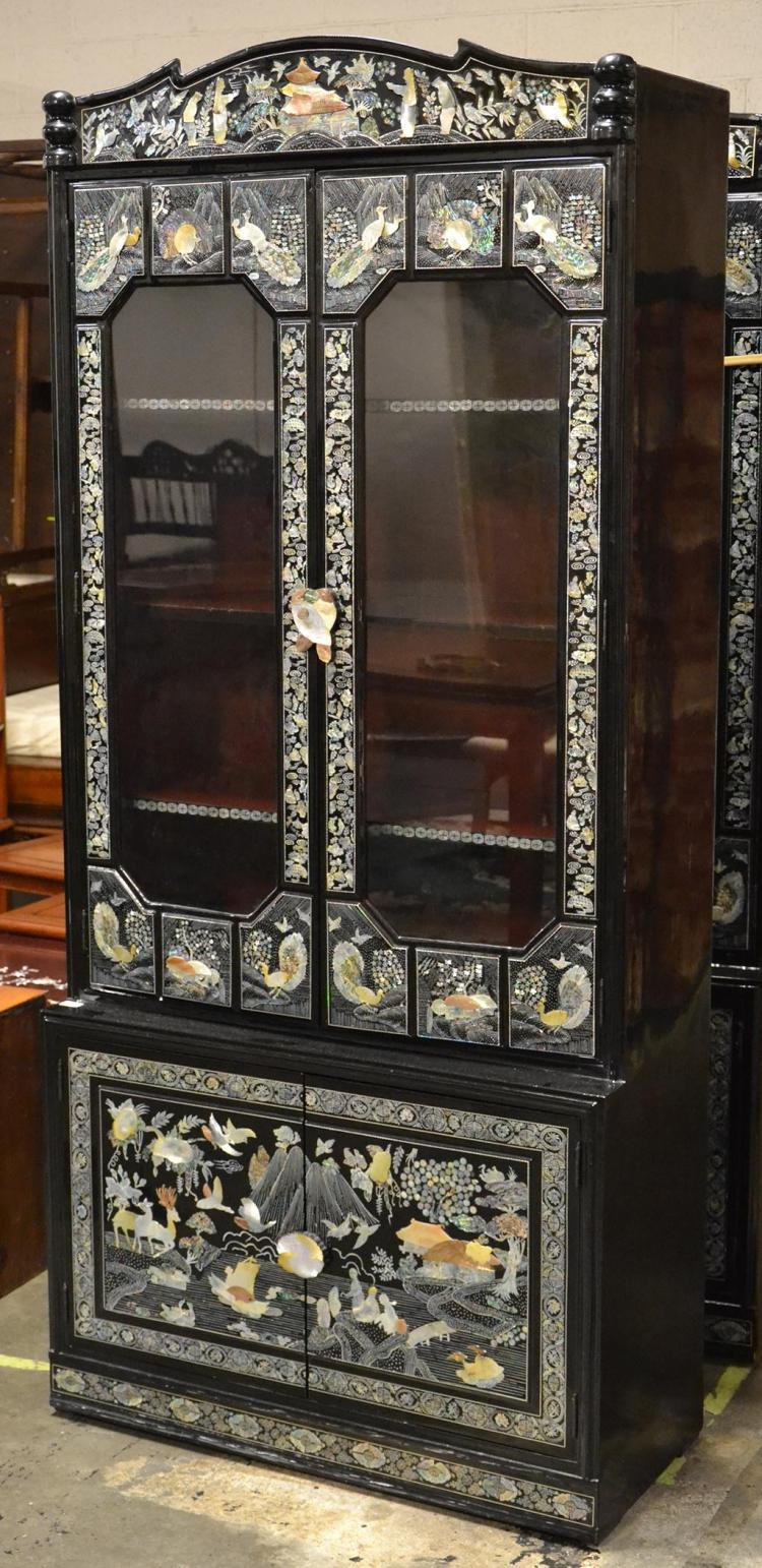 CURIO CABINET - Vintage Korean black lacquer and mother-of-p