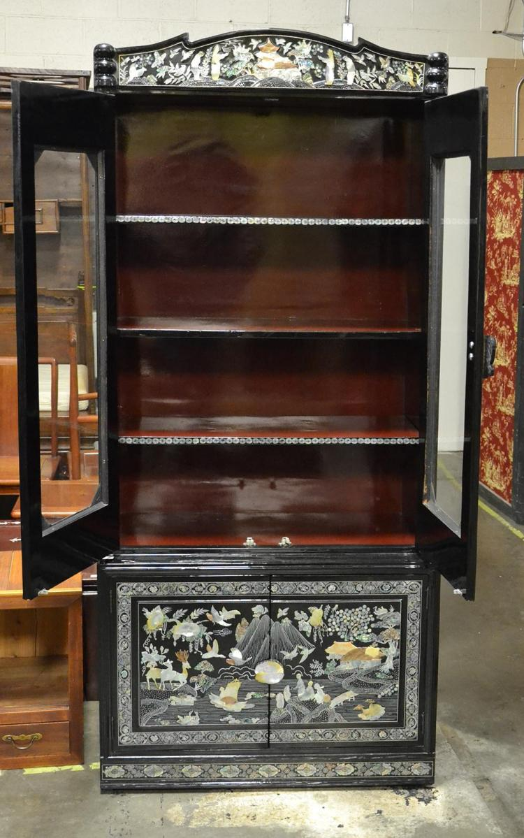 Curio Cabinet Vintage Korean Black Lacquer And Mother Of P