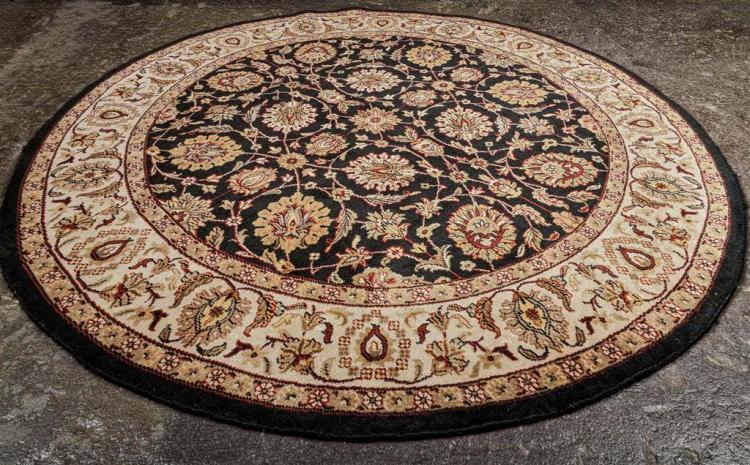 Carpet Hand Knotted Round Indo Kashan Wool On A Cotton Wa