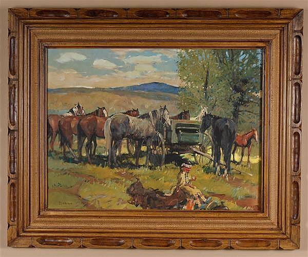 Sheryl Bodily (1936- , Montana) oil on canvas