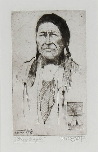 Joe Knowles (1869-1942, Washington) drypoint etching on paper