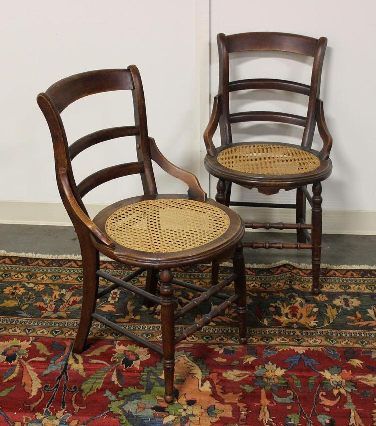 Pair Of Chairs American Ladder Back With Round Caned Seats