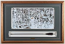 BEV DOOLITTLE (1947-, CA) - WOODLAND ENCOUNTER - Framed lithograph of native hunters in snow covered forest, framed under glass with...