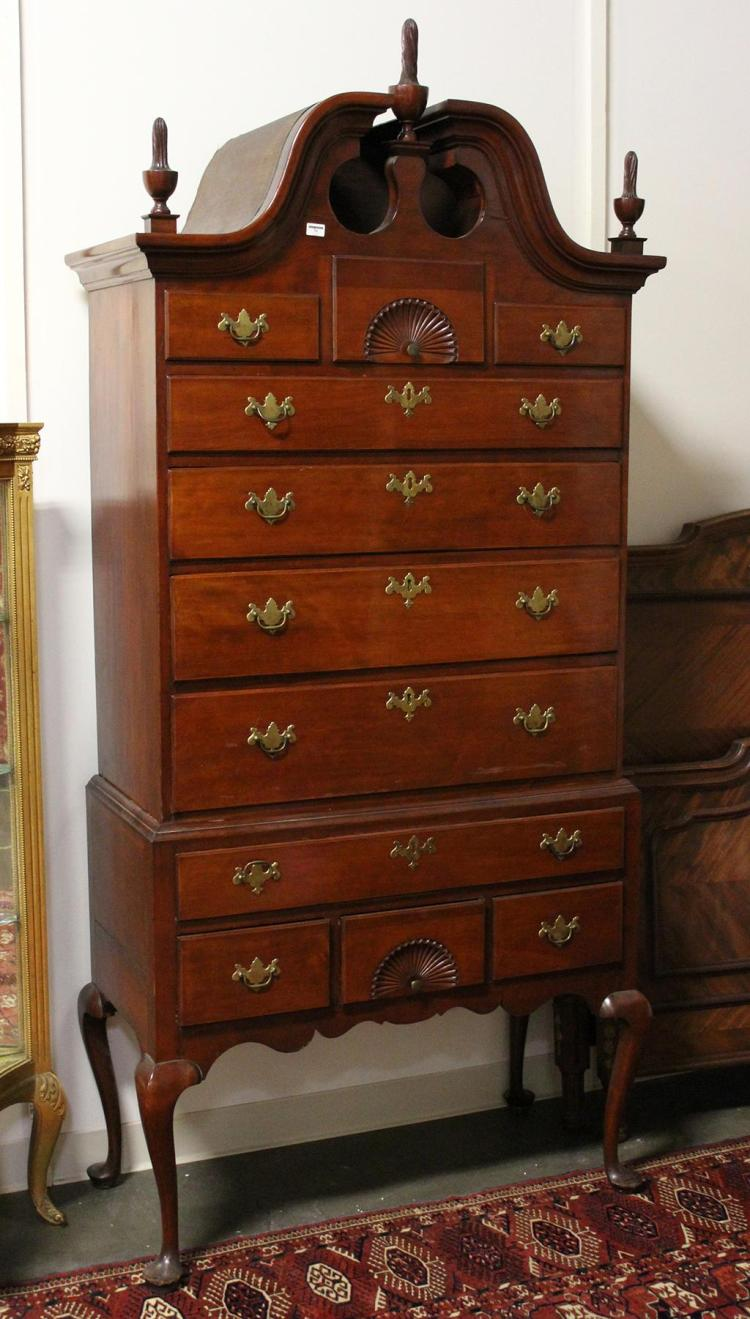 1760 Connecticut Cherry Wood Highboy Chapin School Bonnet To