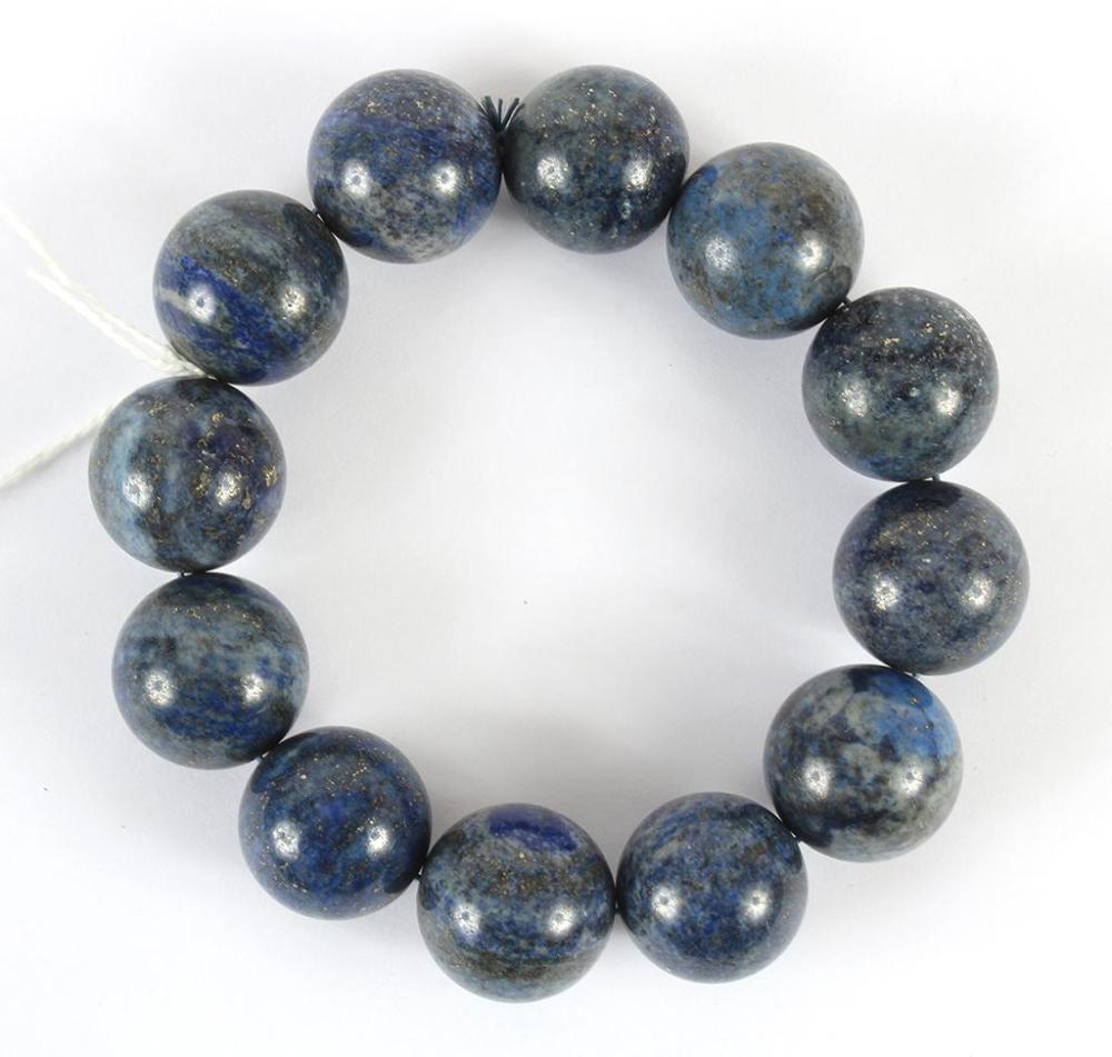 c013b581a GRAY-BLUE HARDSTONE BEAD BRACELET - Twelve highly polished 2 cm round beads  of a