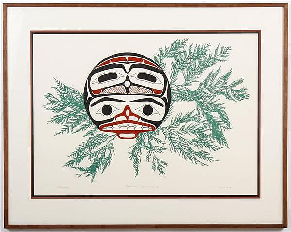 DAVID BOXLEY (1952- , AK) SILKSCREEN ON PAPER - Design in red and green, pencil signed artist proof, titled