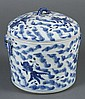CHINESE PORCELAIN BLUE AND WHITE COVERED JAR WITH FISH - Cylindrical shape with handles; decorated with seaweed and goldfish. Unmark...