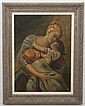 OIL PAINTING ON BURLAP - Painting of a mother embracing two children. Painting is not signed and artist is unknown. Condition good....