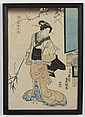 UTAGAWA KUNISADA (TOYOKUNI III) (1786-1865, Japan) WOODBLOCK ON PAPER - Woodblock showing a woman in a kimono holding a long branch....