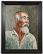 H. LIEDLE OIL PAINTING ON CANVASBOARD - Signed painting of Asian man with white beard, against a green background. Condition good; m...