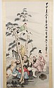CHINESE WATERCOLOR ON PAPER SCROLL - Scroll marked with seal of artist. Painting depicts a group near trees with cranes flying above...