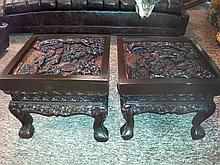 PAIR CARVED END TABLES - 2 Dark hardwood tables carved with flora, fauna, and figure designs over legs and top with glass overlay