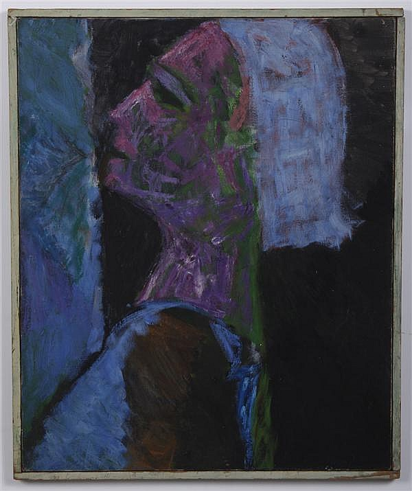 MACCABI GREENFIELD (1918-1969, New York) OIL AND ACRYLIC ON PAPER - Portrait depicting woman in blues. Signed on reverse. Condition....