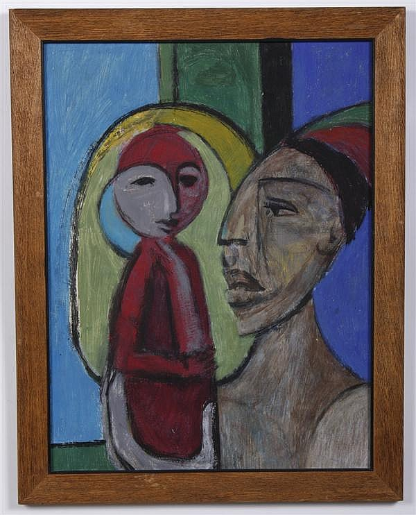 MACCABI GREENFIELD (1918-1969, New York) OIL AND ACRYLIC ON PAPER - Unsigned painting depicting two figures on blue and green backgr...