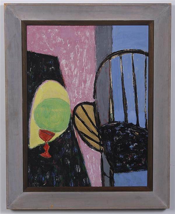 MACCABI GREENFIELD (1918-1969, New York) OIL AND ACRYLIC ON PAPER - Unsigned painting titled