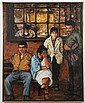 OIL ON CANVAS - Signed Duane Heilman sidewalk scene with seated figures and cafe window in background. Condition good, minor surface...