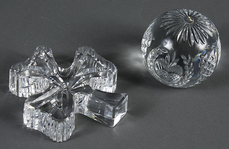 TWO WATERFORD CRYSTAL PAPERWEIGHTS - Both are signed Waterford. Cut crystal shamrock paperweight and cut crystal round paperweight s...