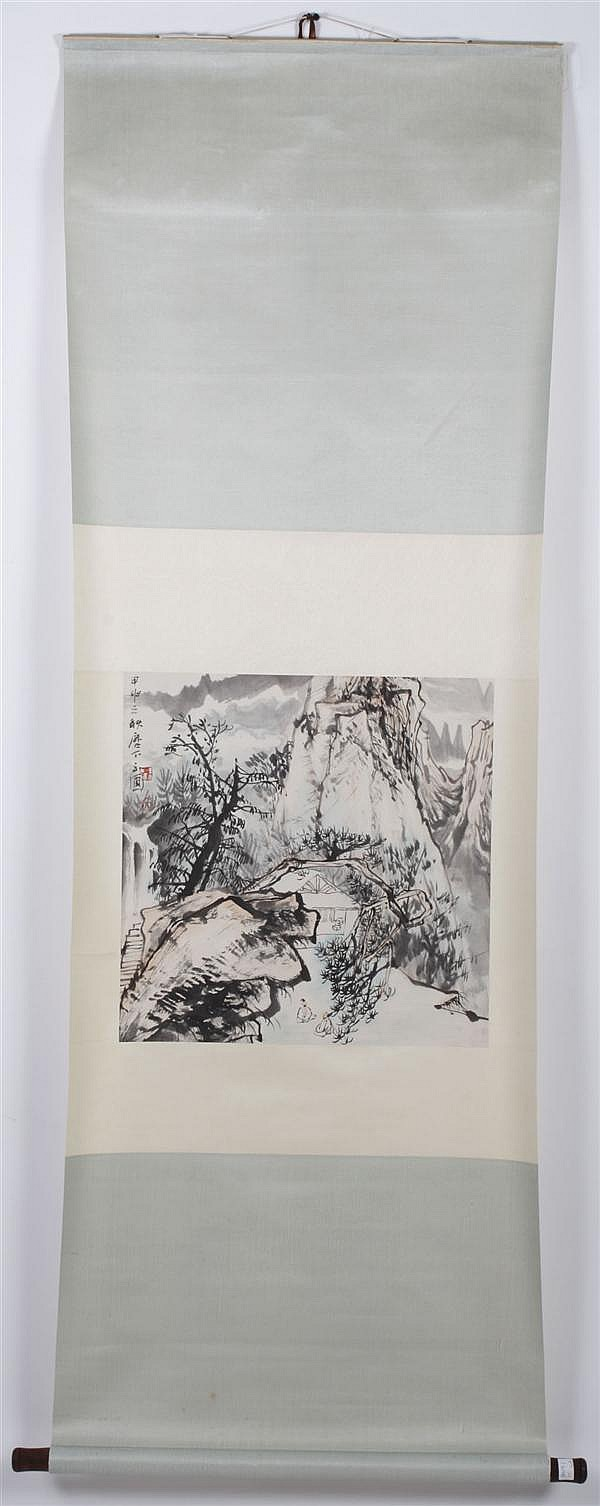 CHEN, YUPU (1946-?, China) WATERCOLOR AND INK ON PAPER - Attributed. Scroll depicting village and mountain with artist seal. Condit...