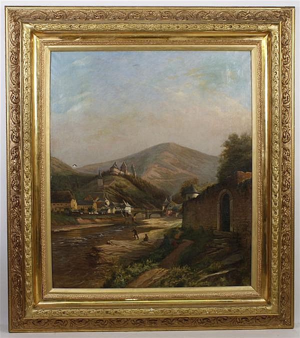 FERNAND DELGOUFFRE (1848-1900, Belgium) OIL ON CANVAS - Signed painting of village scene depicting cottages, bridge and figures fish...