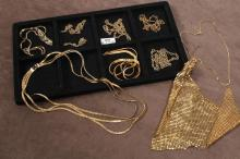 VINTAGE GOLD TONE COSTUME JEWELRY - 9 pcs., some of which are signed, to include 5 chains of various sizes; 1 Whiting-Davis style go...