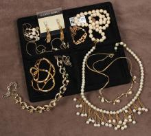 VINTAGE JEWELRY: PEARLS & BLING - 9 pcs. including 2 strands of pearls; 1 designer gold tone chain set with 8 small rhinestones; 1 g..