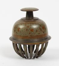 INDIAN ELEPHANT CLAW BRASS TEMPLE BELL - Hand held temple bell with etched foliate design;