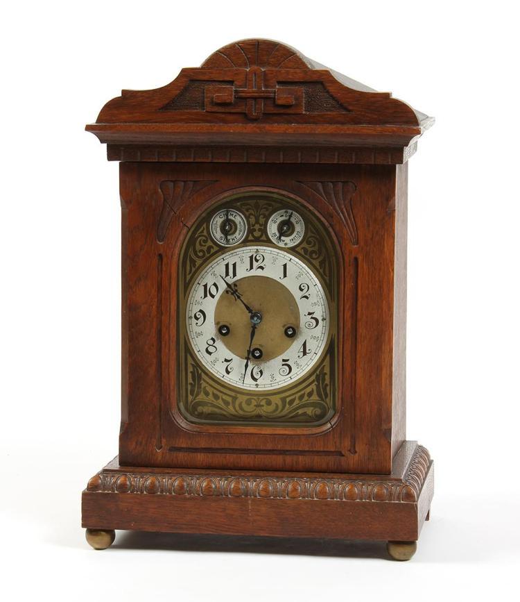 Antique junghaus a07 shelf mantel clock oak case with victo - Antique clock designs for your home ...