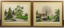 DENIS PAUL NOYER (France, b. 1940) - PAIR OF LITHOGRAPHS - Two color lithographs depicting English cottages amongst green hillsides....